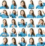Collage van mooi meisje met verschillende gelaatsuitdrukkingen stock foto's
