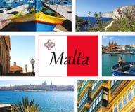 Collage van mooie gezichten van Malta en Gozo Stock Afbeelding