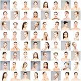 Collage van mooie, gezonde en jonge kuuroord vrouwelijke portretten Gezichten van verschillende vrouwen Gezicht die, skincare, pl stock fotografie