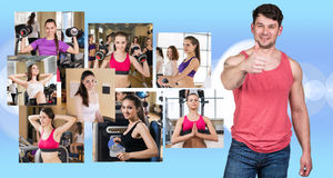 Collage van mooie meisjes en jonge kerel Stock Afbeelding