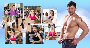 Collage van mooie meisjes en jonge kerel Stock Afbeeldingen
