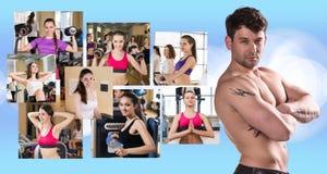 Collage van mooie meisjes en jonge kerel Stock Foto