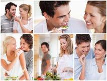 Collage van mooie paren stock afbeeldingen