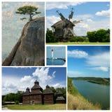 Collage van Oekraïense culturele en aardoriëntatiepunten Stock Foto's