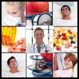 Collage van patiënten die in het ziekenhuis terugkrijgen Stock Afbeeldingen