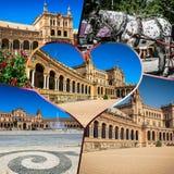 Collage van Plein DE espana Spanje vierkant Sevilla, Andalusia, Spanje Stock Afbeelding