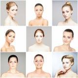 Collage van portretten van jonge vrouwen stock foto's