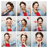 Collage van portretten van gelukkige vrouw Royalty-vrije Stock Afbeelding
