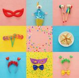 Collage van Purim-vieringsconcept & x28; Joods Carnaval holiday& x29; Hoogste mening royalty-vrije stock afbeelding