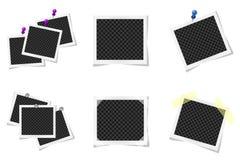 Collage van realistische die fotokaders op wit worden geïsoleerd stock illustratie