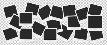 Collage van realistische vectorfotokaders Ontwerp van de malplaatje retro foto Stock Foto's