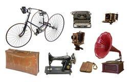 Collage van retro voorwerpen op een witte achtergrond stock fotografie