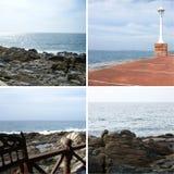 Collage van rotsachtige oceaankust stock foto's