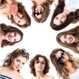 Collage van schoonheidsportretten van vrouwen royalty-vrije stock afbeeldingen
