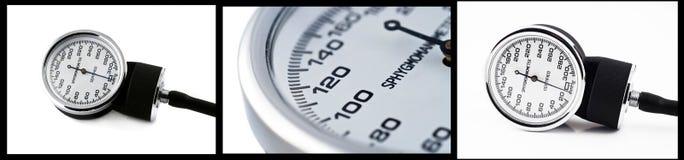 Collage van sphygmomanometer dichte omhooggaande foto's stock foto