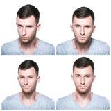 Collage van sterk, overtuigend, bepaald, zeker gezicht expres Stock Foto's