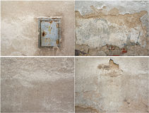 Collage van textuur vier van oude pleister en metaaldeur royalty-vrije stock afbeelding