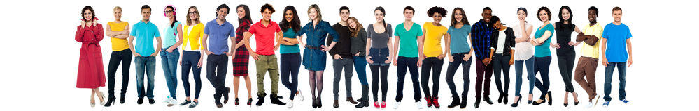 Collage van toevallige jonge vrolijke mensen Royalty-vrije Stock Fotografie