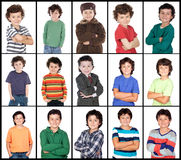 Collage van vele beelden met hetzelfde kind Stock Foto's
