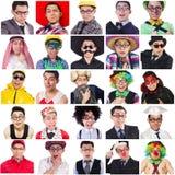 Collage van vele gezichten Stock Foto