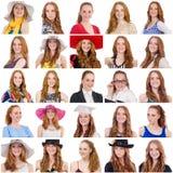 Collage van vele gezichten van zelfde model Stock Foto