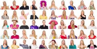 Collage van vele gezichten van zelfde model Stock Afbeelding