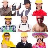 Collage van vele gezichten van zelfde model Royalty-vrije Stock Afbeelding