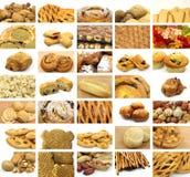 Collage van vele snacks Stock Fotografie