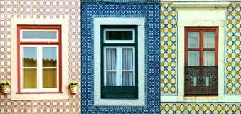 Collage van vensters in Portugal met tegels Stock Afbeelding