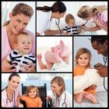 Collage van verpleegsters en pediatritians met babys Royalty-vrije Stock Foto's
