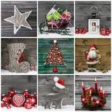 Collage van verscheidene verschillende kleurrijke Kerstmisdecoratie op wo Royalty-vrije Stock Fotografie