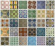 Collage van verschillende gekleurde patroontegels in Portugal Stock Afbeelding