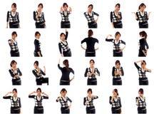 Collage van verschillende gelaatsuitdrukkingen stock afbeeldingen