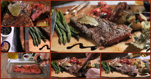 Collage van verschillende meningen van een lendelapje met asperge, aardappels en geroosterde tomaten stock footage