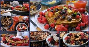 Collage van verschillende meningen van pannekoeken met bessen en droge vruchten stock video
