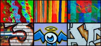 Collage van verschillende muurschildering Stock Foto