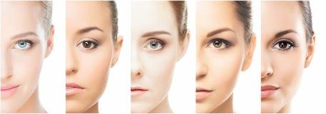 Collage van verschillende portretten van jonge vrouwen in make-up stock foto