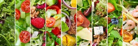 Collage van verschillende salades Stock Afbeeldingen