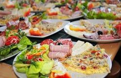 Collage van verschillende snelle voedingsmiddelen. Chee van feta Royalty-vrije Stock Foto's