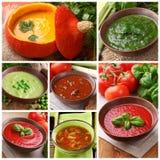Collage van verschillende soepen stock fotografie