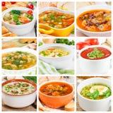 Collage van verschillende soepen Stock Foto