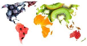 Collage van verse gemengde vruchten De kaart van de wereld royalty-vrije stock foto