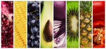 Collage van verse smakelijke sappige vruchten en groenten royalty-vrije stock afbeeldingen