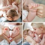 Collage van vier foto's van de moeder en de pasgeboren baby stock afbeeldingen