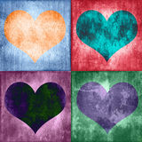 Collage van vier kleurrijke uitstekende harten Stock Foto
