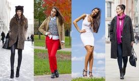 Collage van vier verschillende modellen in modieuze kleren voor stock foto