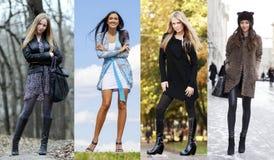 Collage van vier verschillende modellen in modieuze kleren voor royalty-vrije stock foto's