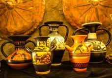 Collage van Vijf Griekse Vazen van Ancinet Stock Foto