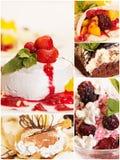 Collage van vijf heerlijke desserts Royalty-vrije Stock Foto