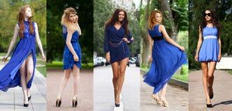 Collage van vijf mooie modellen in blauwe kleding royalty-vrije stock afbeelding